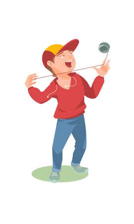Guy plays yo yo cartoon vector illustration
