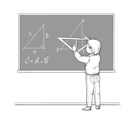 In a geometry lesson, a student draws on the blackboard