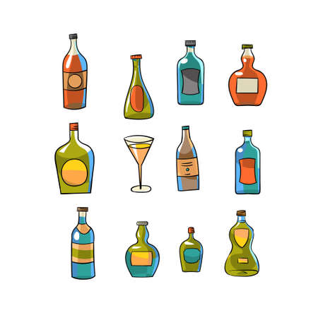 Wine bottle icon. Hand-drawn elements for bar menus, parties, and alcoholic beverages.