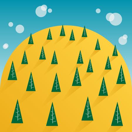 tree and yellow mountain Illustration