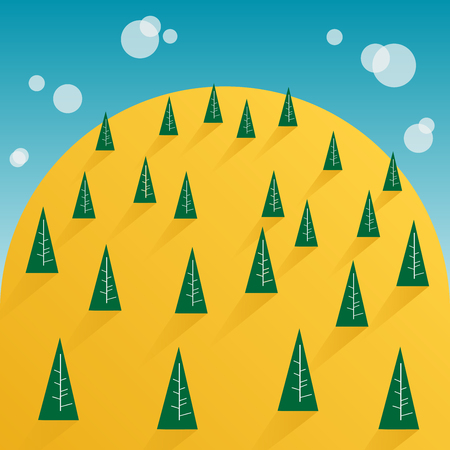 clound: tree and yellow mountain Illustration