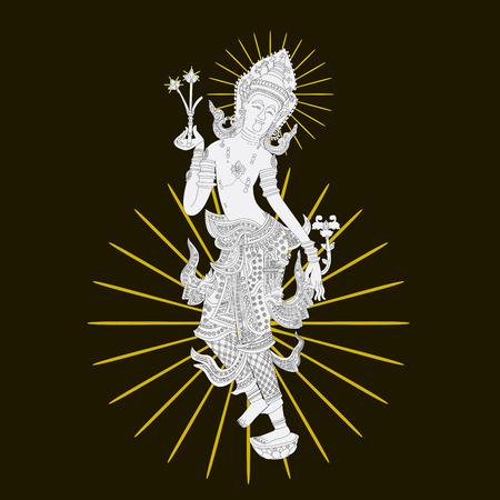 thai dance: illustrator temple pattern wall art background Illustration