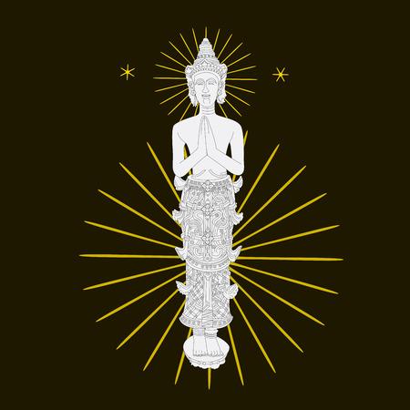 lanna: temple pattern wall art background