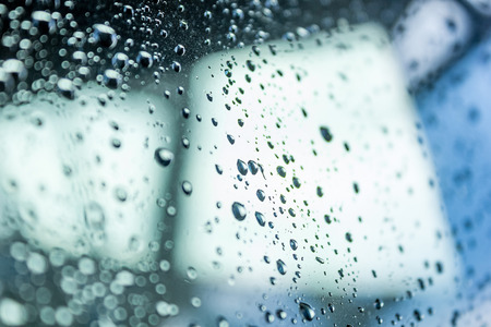 trickle: Water drops on glass Stock Photo