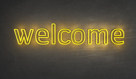 welcome symbol: Welcome Light sign Stock Photo