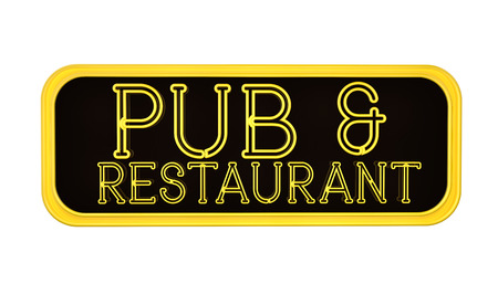restaurant sign: Pub and Restaurant Neon Sign