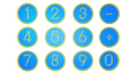 number button: Blue Number icons