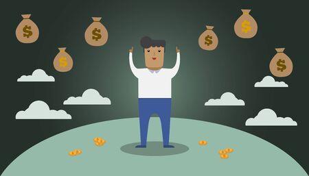 illustrazione uomo: Money dream illustration man