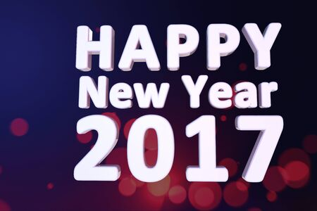 GRADIANT: happy new year 2017 3d text with dark blue background