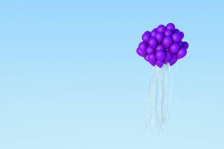 Perple balloon 3d render on blue sky. Stock Photo