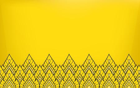 ゴールド カラーの背景を持つタイの伝統寺アート アイコン