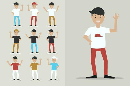 Jongen karakters zeggen afscheid, illustratie karakter set. Stock Illustratie