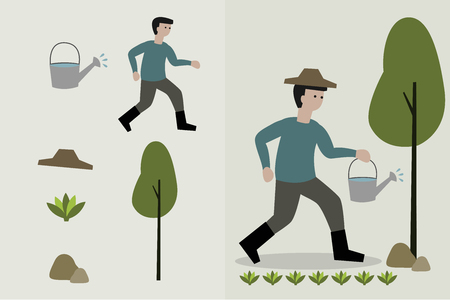 asian gardening: man watering the garden vector illustration.