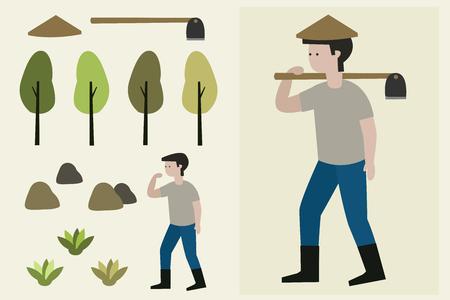 illustration farmer man with a hoe.