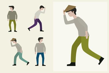 staying: Country Man walking, character illustration set.