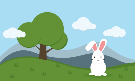 Little rabbit and friend in green forest. Cute animal cartoon illustration.