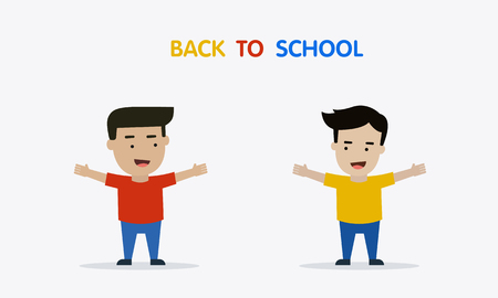 Welcome back to school with boys vector illustration
