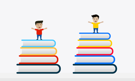 Kids On Stack Of Colorful Books Vector flat design. Çizim