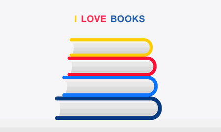 Stack Of Colorful Books Vector flat design.