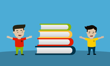 Happy kids with books vector illustration Çizim