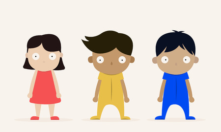 Three kids boy character standing on white background