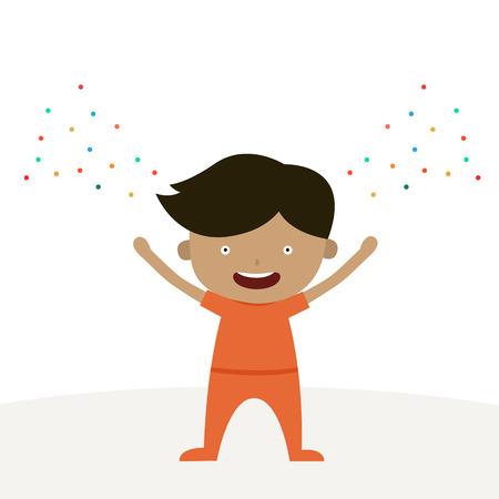 A happy boy cartoon character is happy Thursday theme.