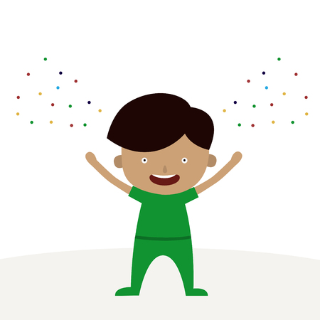 A happy boy cartoon character is happy Wednesday theme.
