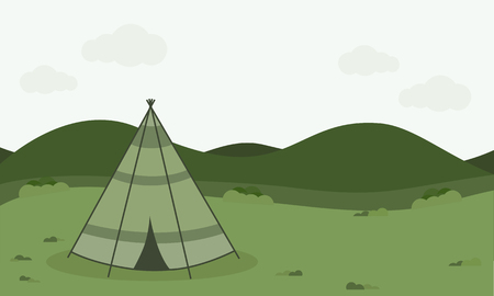vintage camping tent ,Retro Camping illustration with nature background