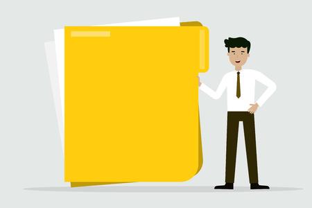 business man with big folder, flat animation design.