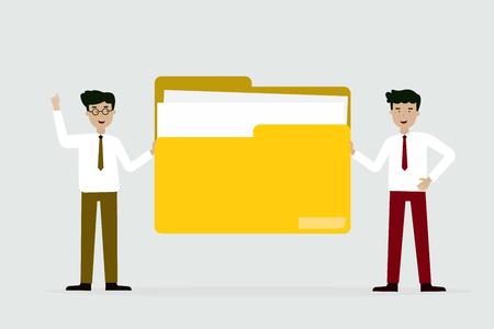 business man and friend with big yellow folder, flat animation design Çizim