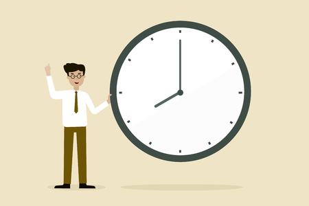 business man with Big Clock, flat animation design.