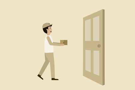 shipping man with a door, flat animation design.