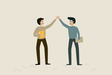 Agree to contract with businessman, flat animation design.