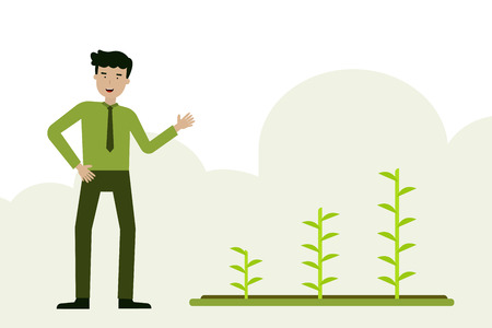 A man with plant agriculture flat cartoon background