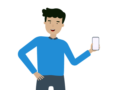A happy man hand on a mobile phone