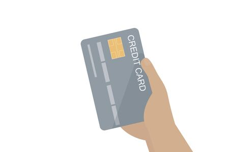 hand holding credit card isolated on white background
