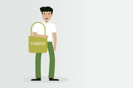 Man with fabric bag, Global Warming concept