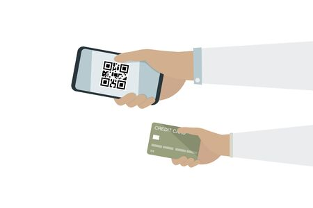 Businessman sent a credit card and QR code with smart phone.