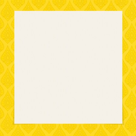 Thai Tradition Art Square Frame Gold Color Background