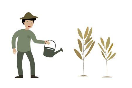 A farmer is sadness and dead plants, flat animation design. Çizim