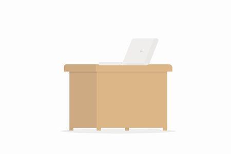 Computer laptop on wooden table, Flat illustration design Ilustração