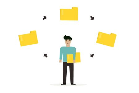 business man with  chart presentation, flat animation design.