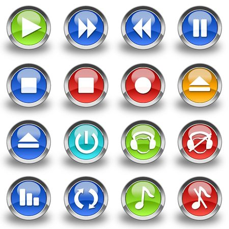 Collection of 16 Media Player glossy buttons & icons  Stock Photo