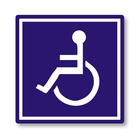 person on wheelchair, label & button  Stock Photo