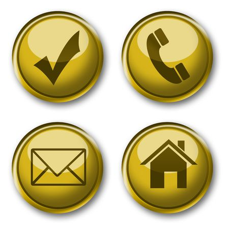 gold web contact button & icon  Stock Photo - 6115155