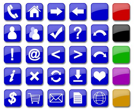 set of 19 most popular icons on the web  Stock Photo