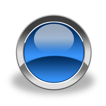 glass button: empty, blue and glass button, icon