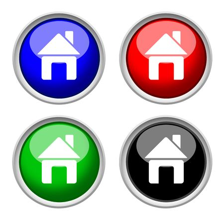 colored icons of home & house, glass