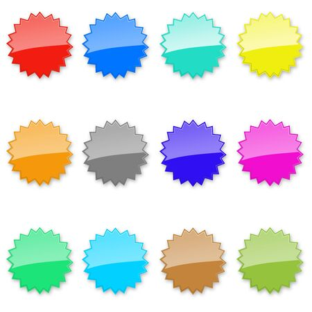 star & vignette labels, colored and glass Stock Photo