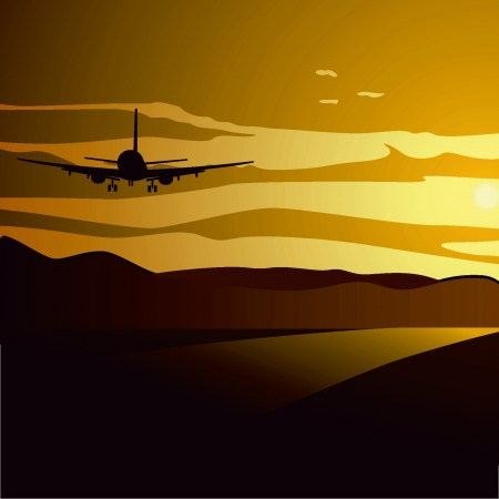 Flying into the sunset Illustration